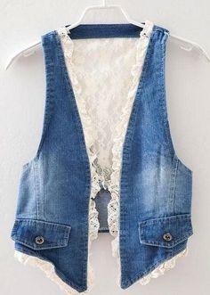 Denim lace vest - great idea for jeans upcycle Gilet Jeans, Denim Vests, Diy Vetement, Lace Vest, Denim Ideas, Denim Crafts, Recycled Denim, Denim And Lace, Denim Outfit