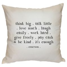 Think Big Pillow  - #quote #emerson