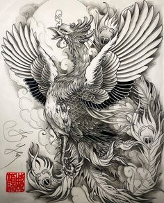 Phoenix Design By 💥 💥 Japanese Pheonix Tattoo, Japanese Tattoo Art, Japanese Tattoo Designs, Japan Tattoo Design, Tattoo Design Drawings, Tattoo Sketches, Phoenix Design, Phoenix Tattoo Design, Phoenix Artwork