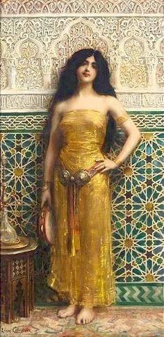 """Léon-François COMERRE (1850-1916), """"La joueuse de tambourin"""", huile sur toile."""