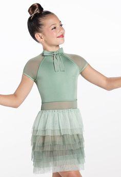 Weissman® Lyrical Costumes, Ruffle Skirt, Dance Dresses, Elegant Dresses, Leotards, Cap Sleeves, Perfect Fit, Tulle, High Neck Dress