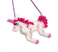 Sparkly Rainbow Striped Unicorn Necklace White by VelvetVolcano