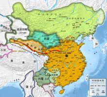 Liao dynasty - Liao dynasty (green) bordering Korea, the Song (orange), the Xi Xia (blue) and the Uyghur Kingdom of Qocho.