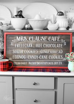 Kitchen Painted Wood Sign Free Silhouette cut file for Mrs. Clause Cafe Painted signFree Silhouette cut file for Mrs. Diy Christmas Decorations For Home, Christmas Signs Wood, Holiday Signs, Farmhouse Christmas Decor, Christmas Projects, Christmas Ideas, Christmas Chalkboard, Holiday Crafts, Winter Christmas