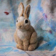 Mama Rabbit  100% alpaca wool  tan and white needle by RaeStimson