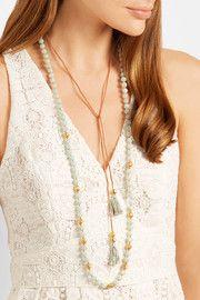 Tasseled gold-plated amazonite necklace