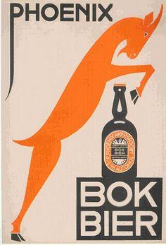 Graphic design by N P de Koo (1881-1960) , 1932, Phoenix Bokbier, Dutch brewery.