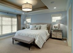 Colors in Master...would love that lovely overhead lamp vs. ugly ceiling fan I have now.