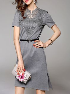 6ae1b9c5a023 Crocheted Cotton Midi Dress with Belt Casual Formal Dresses
