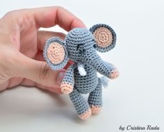 Elephant toy, crochet elephant, stuffed elephant, miniature elephant, tiny elephant, new baby gift, gray little elephant, african toy gift