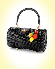 Wicker Baguette Purse in Black with Fruit Charm | Pinup Girl Clothing