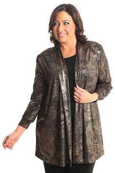 Vikki Vi Jersey Elegance Long Kimono Jacket A great plus size piece for your holiday party.