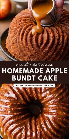 This Apple Bundt Cake is the perfect dessert to make when you don't feel like messing around with anything complicated! It is made up of chunks of tender apples, chopped walnuts, cinnamon, and applesauce. And while it's still warm, drizzle this decadent brown sugar glaze over the top! Find the full recipe on BeyondtheButter.com! Apple Bundt Cake Recipes, Best Cake Recipes, Pumpkin Recipes, Apple Cake, Fall Dessert Recipes, Desserts To Make, Fall Recipes, Brown Sugar Glaze, Chocolate Chip Cake