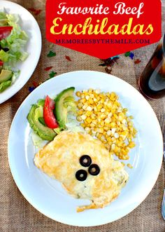 Our Favorite Beef Enchiladas recipe from Memories By The Mile. That gooey cheese on top is killing me! Supper Recipes, Entree Recipes, Beef Recipes, Cooking Recipes, Supper Meals, Yummy Recipes, Mexican Dishes, Mexican Food Recipes, Mexican Meals