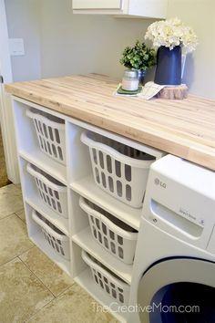 Laundry Sorter Building Plans - The Creative Mom Laundry Basket Shelves, Laundry Table, Farmhouse Laundry Room, Laundry Room Storage, Laundry Basket Organization, Bathroom Storage, Laundry Basket Dresser, Utility Room Storage, Laundry Room Countertop