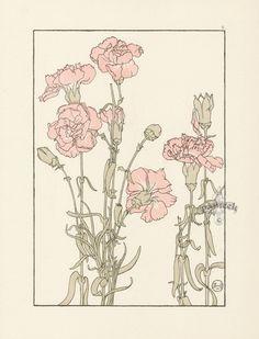 "The Carnation - Jeannie Foord - ""Decorative Flower Studies"", Pochoir Prints, 1901."
