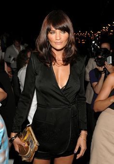 Helena Christensen in Bing Bang Sqaure Crystal Bangles and Chain Hanger Earrings – Fashion Week September 2008