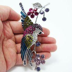 """Урожай 4.21 """" ласточка птица цветок брошь контактный горный хрусталь кристалл нескольких эмаль"""