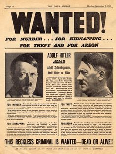 Daily Mirror (British) newspaper cover, 4th September 1939: WANTED For Murder... For Kidnapping... For Theft And For Arson.