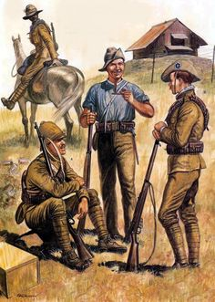 British troops with rice blockhouse, Boer War