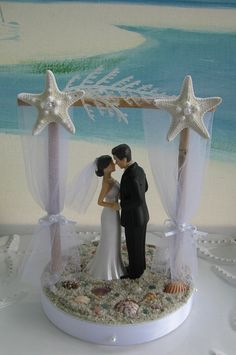 Pergola Beach Wedding Cake Topper~Bride and Groom on a Beach Cake Topper