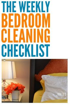 Weekly Bedroom Checklist gets every surface clean -- even the ones I usually forget! Homemade Cleaning Supplies, Household Cleaning Tips, Cleaning Day, Spring Cleaning, Cleaning Hacks, Bedroom Cleaning, Clean Bedroom, Weekly Cleaning Checklist, Cleaning Solutions