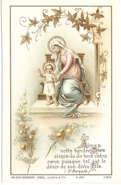 Antique Vintage French Holy Prayer Card Mary Baby Jesus Angels items in The Paper Attic store on eBay!