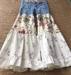 Boho Bloomers ruffle jeans denim and floral fabric pants bell bottoms pink roses bohemian shabby chic size 8 festival romantic reworked,