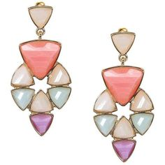 Yoins Multicolor Faceted Stone Swing Earrings (5.58 AUD) ❤ liked on Polyvore
