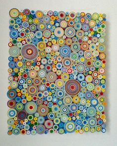 Abstract multi coloured 'quilling' canvas