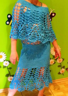 Crochet  dress skirt and poncho for girls by Hladisek on Etsy, $50.00
