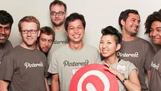 Enid Hwang (center, right), Pinterest's fourth employee, was also one of the bookmarking site's first fans. She stands with Pinterest cofounders Ben Silbermann and Evan Sharp (center, left) and other early employees. (Courtesy Pinterest)