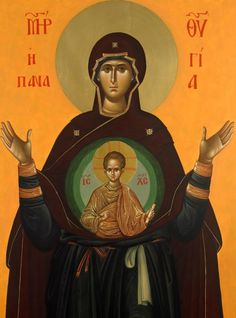 Panagia Theotokos of the Sign. Byzantine Icons, Byzantine Art, Christian Mysticism, Blessed Mother Mary, Orthodox Icons, Lutheran, Sacred Art, Religious Art, Virgin Mary