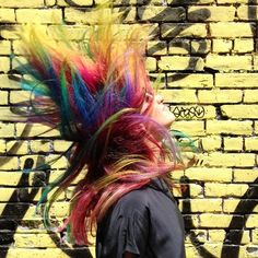 Rainbow Hair. Color by Lena Ott for Suite Caroline. @lucefiasco ❤️ #rainbowhair #lenaottcolor #suitecaroline @suitecarolinesalon #manicpanic @manicpanicnyc