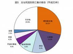 主な死因別死亡数の割合(平成23年)