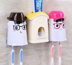 free shipping, 2pcs cute toothbrush holder + Automatic Toothpaste Dispenser device box Oral Care