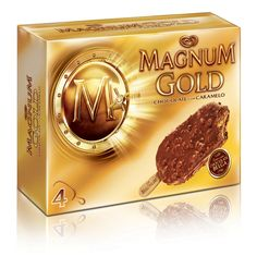 Contenant : l'emballage est unique pour chaque glace ce qui renforce l'unicité du produit. La forme est classique, reprenant le principe d'ouverture facile par le côté. Les formes sont épurées et les effets de reliefs arrondis rappellent la douceur de la dégustation. Décor : La couleur or est dégradée sur l'ensemble de l'emballage ce qui met en avant l'effet « premium » du produit et la référence au caramel. La cible visée, les adultes se voient offrir une « glace de luxe ».