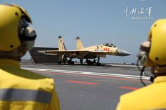 Shenyang J-15 Flying Shark naval-based fighter taking off from aircraft carrier Liaoning, People's Liberation Army Navy (PLAN) | Xinhua