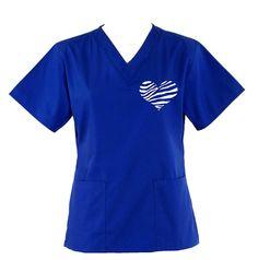 Zebra Heart Two Pocket Nursing Scrub Top on Etsy, $15.99