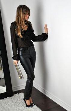 Fancy - Zara black faux leather ankle zip pants in Skinny Pants