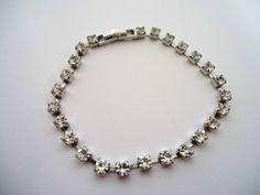 Vintage 1960's Tennis Style Bracelet Clear Diamanté Rhinestone Silver Tone | eBay