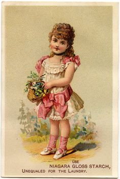 This is a lovely Vintage Basket Girl Image! This one was used as an old Advertising Trade Card. Vintage Labels, Vintage Ephemera, Vintage Paper, Images Vintage, Vintage Pictures, Shabby, Images Victoriennes, Craft Images, Vintage Illustration