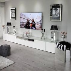 fine Amazing Living Room TV Wall Decor Ideas And Remodel The room will be far more attractive if the subject of conversation isn't about your TV. For insta. Condo Living Room, Ikea Living Room, Living Room Decor Cozy, Living Room Paint, Interior Design Living Room, Living Room Designs, Kitchen Living, Classy Dorm Room, Tv Cabinets