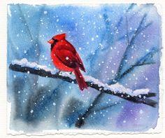 CARDINAL bird watercolor painting, painting by artist Barbara Fox