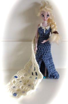 free crochet pattern--doll-sized Elsa snow gown.