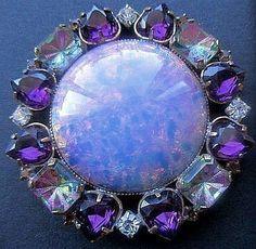 XL Outstanding Vintage Czech Rhinestone Glass Button.