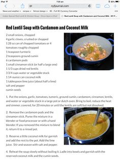 Red Lentil Soup with Coconut and Cardamom