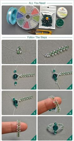 seed bead tutorials for beginners Diy Beaded Rings, Diy Jewelry Rings, Bead Jewellery, Jewelry Crafts, Beaded Bracelets, Diy Rings, Netted Bracelet, Diy Jewelry Unique, Diy Jewelry To Sell