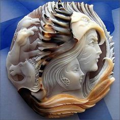 From Italia Ruotolo: This has been carved in Torre del Greco, not sure about the artist . Usually we carve only two layers of the shell, the light (figure) and the dark (the background) . But sometimes we use also a 3th layer the outer one, the rind of the shell in order to add more colors. This is an authentic cameo old school ;)
