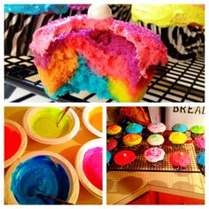 Neon cupcakes topped with shimmering sixlets!